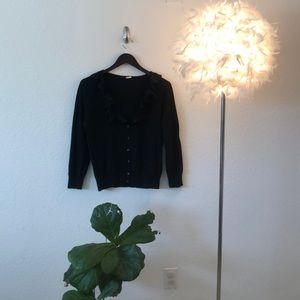 JCrew Merino Wool Black Ruffle Cardigan
